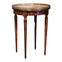 Early 20th Century French Louis XVI Walnut Gueridon Table with Marble Top