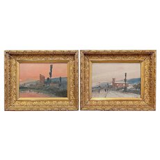 Pair of 19th Century French Landscape Oil on Board Paintings Signed F. Blanco