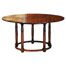 French Fruitwood Marquetry Five-Leg Round Table Signed Christian Noyrand
