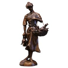 """19th Century French Bronze Sculpture """"The Lady with the Ducks"""" Signed Moreau"""