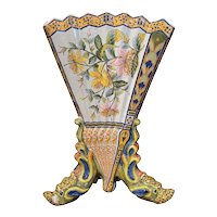19th Century French Hand Painted Faience Vase from Porquier Beau Quimper