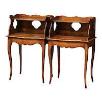 Pair of Early 20th Century Louis XV Walnut Nightstands Bedside Tables