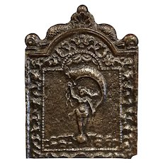 18th Century French Louis XV Polished Iron Fire Back with Goddess and Dolphins