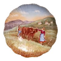 Large 19th Century French Hand-Painted and Gilt Porcelain Wall Platter with Cows