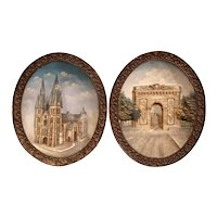 Pair of Early 20th Century French Hand Painted Oval Decorative Wall Platters