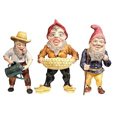Set of Three Mid-Century French Hand-Painted Barbotine Gnomes Figurines