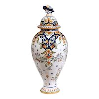 19th Century French Hand-Painted Ceramic Potiche and Lid from Rouen