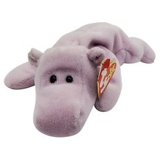 First generation Happy Hippo Lavender Ty Beanie Baby 1993 birth date 2/25/94