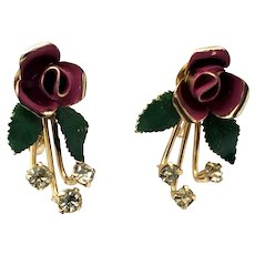 Beautiful vintage enameled rose with crystal drops earrings with screw back