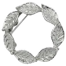 Beautiful silver tone wreath of leaves marked Gerry vintage