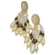 Chandelier faux pearl beaded post earrings with hand stitched leather back