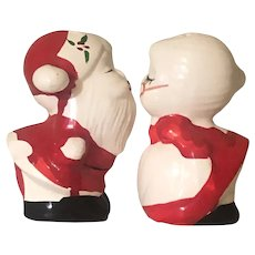 Vintage Kissing Santa and Mrs. Claus Ceramic Salt & Pepper Shakers
