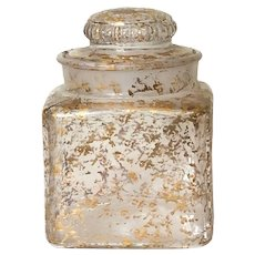 Apothecary Gilt, Square Glass Jar, Gold with lid, Storage glass canister