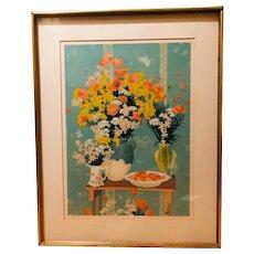 Bouquet sur une Table Gigogne - limited edition lithograph (Andre Vignoles)