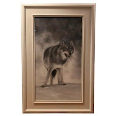 Untitled - loup dans la neiger (wolf in the snow) oil on canvas (French Canadian artist Lise Gauthier)