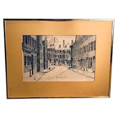 Pen and Ink print/Beacon Hill - Clark (C.M.) Goff