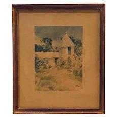 Bermuda villa - Old Buttery at Somerset lithograph (Adolph Treidler)