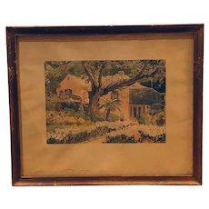 Bermuda plantation home and garden - Par-La-Ville Hamilton watercolor lithograph (Adolph Treidler)