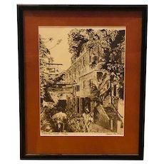 """St. Croix U.S. Virgin Islands landmark - """"Comanche Walk"""" limited edition lithograph (Preston Doane)"""