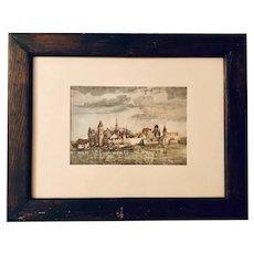 View of Salzburg - limited 1934 original vintage lithograph (Albrecht Durer)