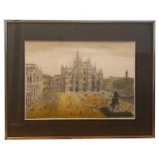 Milan Cathedral hand-colored intaglio etching - signed (Bela Sziklay)