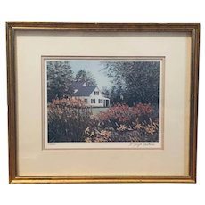 Rose's Garden - homestead and flowers early run lithograph (E. Joseph Fontaine)