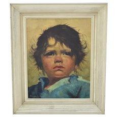 Original Mid-Century Art Child Portrait Oil On Canvas 'Arabella' by Jeanne Brandsma