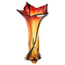 Large Vintage Murano Twisted Art Glass Floor Vase in Fiery Orange and Red
