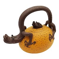 Vintage Handmade Asian CLAY DRAGON TEAPOT Applied Design Signed