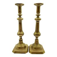 """Antique Brass CANDLE STICKS PAIR Marwin Foundry Mark 12.5"""""""