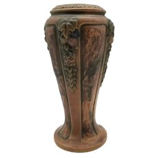 "Vintage Early Roseville Pottery Florentine Pattern Vase 8"""