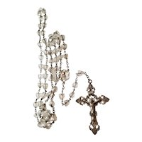"""Beautiful Ornate Vintage Sterling & Crystal Rosary with Large 2.375"""" Crucifix"""