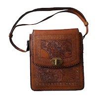 Vintage Hand-Tooled Leather MEXICO HANDBAG 8x9 Adjustable Strap VG+