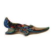 "Vintage Mexican Huichol Folk Art l BEADED LIZARD IGUANA on Clay 10"""