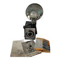 Vintage Tower Box Camera & Flash Unit & Bulb & Manuals! In Case!