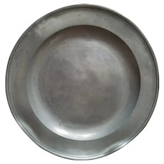 """Antique Pewter Charger Plate 18"""" 5lbs Marked TM"""