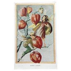 Rene Cloke children's artist. Original 1951 postcard by Valentine. 'Fairy Lamps'