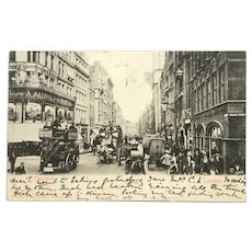 1903 London Postcard. Horse-drawn buses on Cheapside