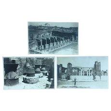 3 Pompeii real photo postcards from HMS Iron Duke 1920s visit