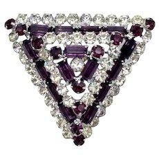 Purple and Clear Rhinestone Triangle Brooch