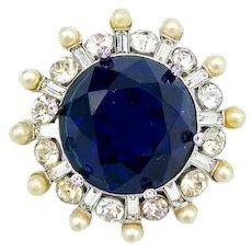 Exquisite signed Castlemark (Castlecliff 1948-1952 mark)Midnight Blue Rhinestone Brooch!