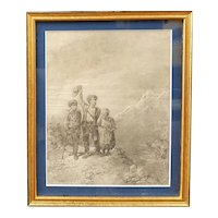 French School of the middle of the  19th century - The three children leaving their home