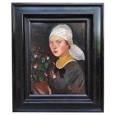 Kathe MÜNZER-NEUMANN - Portrait of a girl with flowers