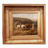 Charles BOMBLED - Two horsemen in a landscape