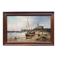 Henri VAN WYK - A harbor and its pier in Belgium in the 1880s