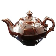 Antique Glazed Redware Teapot Early 19th Century