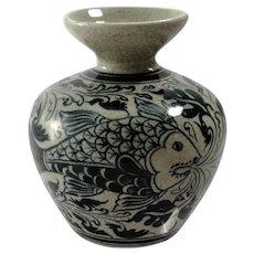 Antique Japanese Crackle Porcelain Glaze Vase
