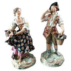 Samson, Edmé et Cie - Figurine (2) - Porcelain, with faux Derby marks, 19th Century