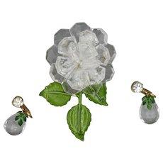 W Germany Lucite Brooch Earrings, Flower Set