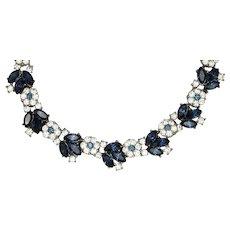 Trifari Floral Blue Rhinestone Necklace